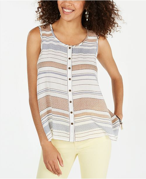 Style & Co Cotton Striped Button-Up Top, Created for Macy's