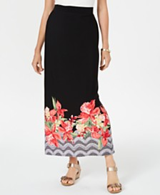 JM Collection Border-Print Maxi Skirt, Created for Macy's