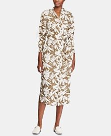 Lauren Ralph Lauren Botanical-Print Buttoned Crepe Shirtdress