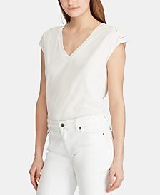 Lauren Ralph Lauren Embroidered Logo Lace-Up-Sleeve Top