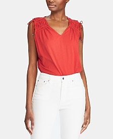 Lauren Ralph Lauren Tassel-Trim Sleeveless Cotton Top