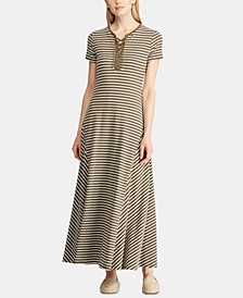 Stripe-Print Lace-Up Jersey Maxidress