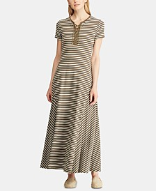 Lauren Ralph Lauren Stripe-Print Lace-Up Jersey Maxidress