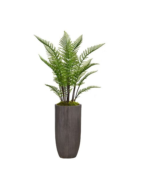 """Laura Ashley 56.25"""" Tall Fern Plant Faux decor With Burlap Kit in Resin Planter"""