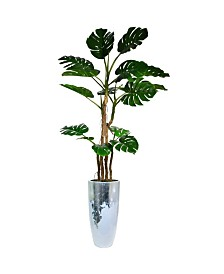 "Laura Ashley 93.5"" Tall Monstera Faux decor with Burlap Kit in Resin Planter"