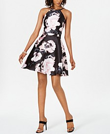 XSCAPE Floral-Print Fit & Flare Dress