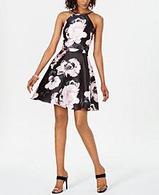 XSCAPE Floral-Print Fit & Flare Dress