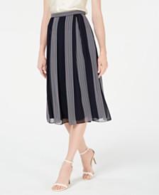 Anne Klein Striped Midi Skirt