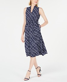 Anne Klein Rope-Print Midi Dress