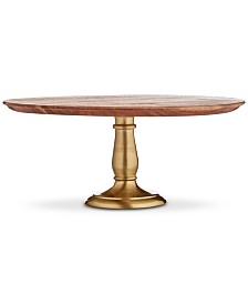 Martha Stewart Collection Wood & Gold-Tone Aluminum Cake Stand, Created for Macy's