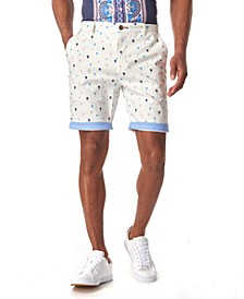 Men's Mini Palm Tree Contrast Cuff Chino Shorts