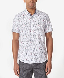 Men's Rose Micro Print Slim Fit Woven Shirt