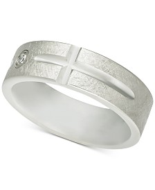 Men's Diamond Accent East-West Cross Band in White Tungsten Carbide