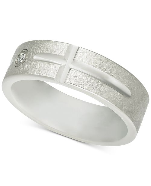 Macy's Men's Diamond Accent East-West Cross Band in White Tungsten Carbide
