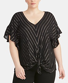 RACHEL Rachel Roy Trendy Plus Size Zinnia Striped Tie-Front Top
