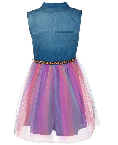Big Girls Plus Size Denim Rainbow-Skirt Dress