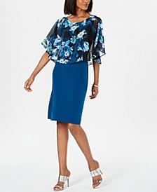 Printed-Overlay Shift Dress