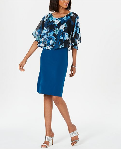 Connected Printed-Overlay Shift Dress