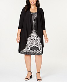 Plus Size Foil-Puff Print Necklace Dress & Jacket