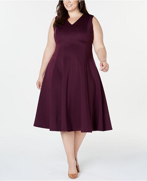 Plus Size Midi Fit & Flare Dress