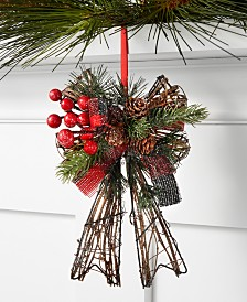 Holiday Lane Christmas Cheer Rattan and Metal Bow Ornament, Created for Macy's