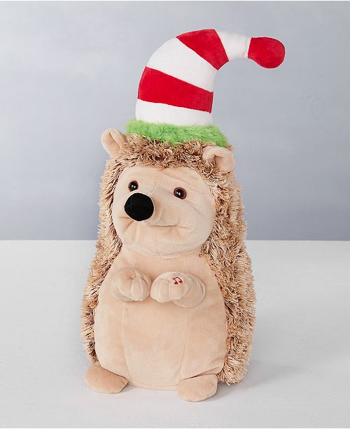 "Holiday Lane 15""H Dancing Hedgehog with Moving Mouth, sings ""Feliz Navidad"", Created for Macy's"