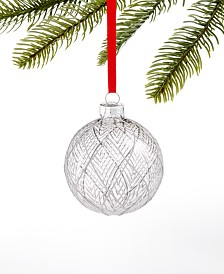 Holiday Lane Crystal Elegance Gray Glass Ornament with Diamond Pattern, Created for Macy's