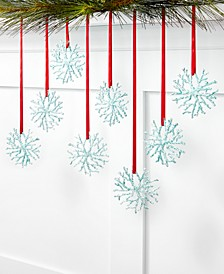 Seaside Set of 8 Shatterproof Teal Snowflake Ornaments, Created for Macy's