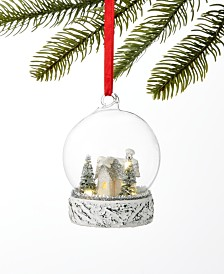 Martha Stewart Collection Silver Woods Glass Dome Ornament, Created for Macy's