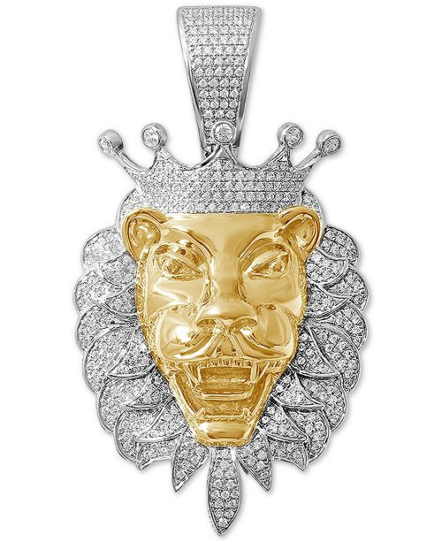 Macy's Diamond Lion Two-Tone Pendant (1 ct. t.w.) in Sterling Silver & 14k Gold-Plate