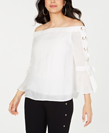 Thalia Sodi Off-The-Shoulder Lace-Up Top, Created for Macy's