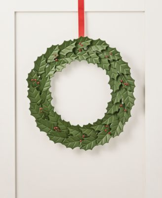 Farmhouse Holidays Green Leaves & Red Berries Wreath, Created for Macy's