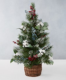 Farmhouse Holidays 2' Red, White & Blue Berry Artificial Tree, Created for Macy's