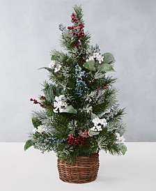 Martha Stewart Collection Farmhouse Holidays 2' Red, White & Blue Berry Artificial Tree, Created for Macy's