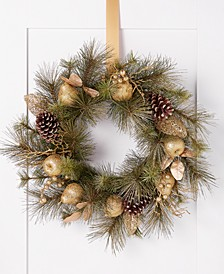 Midnight Blue Pinecone & Gold Leaf Wreath, Created for Macy's