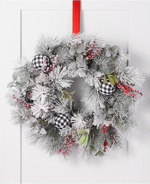 Holiday Lane The Holiday Collection Plaid Ornament Wreath, Created for Macy's