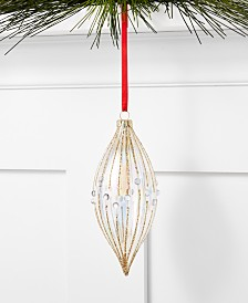 Holiday Lane Glittered Plastics Clear and Gold Glitter Drop Ornament, Created for Macy's