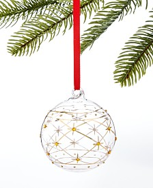 Holiday Lane Midnight Blue Gold & Clear Ball Ornament, Created for Macy's