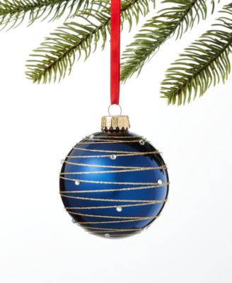 Midnight Blue Blue Stripe Ornament, Created for Macy's