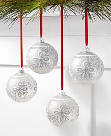 Holiday Lane Upstate 4 Piece Mercury Silver Snowflake Balls Decor
