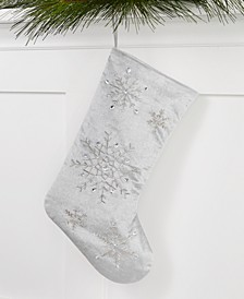 Gray Beaded Snowflake Stocking, Created for Macy's