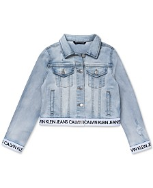 Calvin Klein Big Girls Logo-Trim Denim Jacket