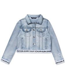 Calvin Klein Big Girls Logo-Trim Denim Jacket