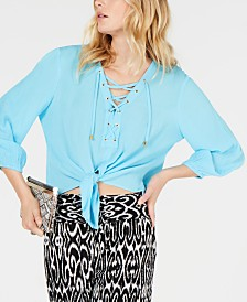 I.N.C. Lace-Up Tie-Front Top, Created for Macy's