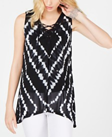 I.N.C. Lace-Up Hanky-Hem Top, Created for Macy's