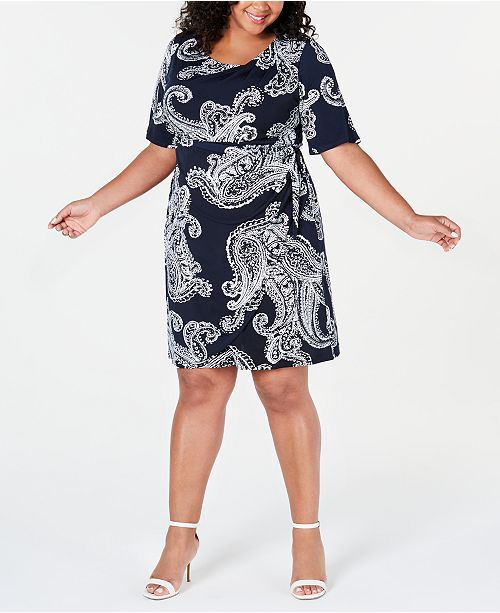 Robbie Bee Trendy Plus Size Faux-Wrap Dress
