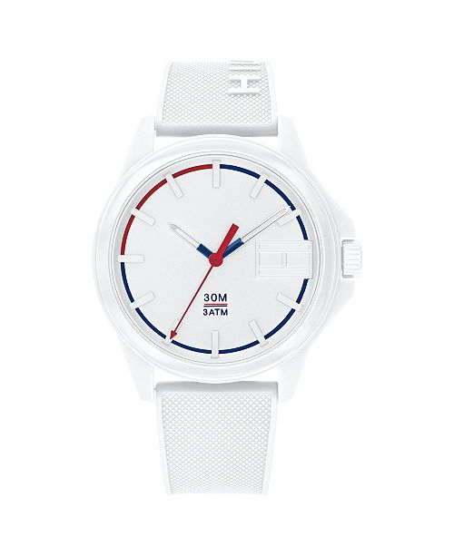 Tommy Hilfiger Mens White Silicone Strap Watch 42mm , Created for Macys