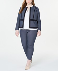 Calvin Klein  Plus Size Piped Jacket, Textured Top & Pull-On Pants