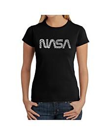 Women's Word Art T-Shirt - Worm Nasa