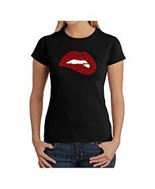 Women's Word Art T-Shirt - Savage Lips